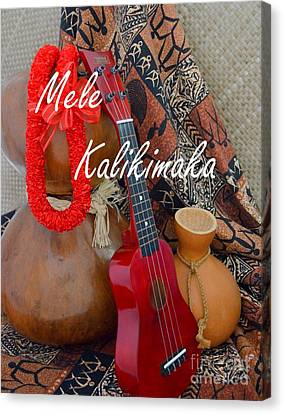 Mele Kalikimaka With Red Ribbon Lei Canvas Print by Mary Deal
