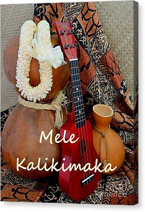 Mele Kalikimaka With White Ribbon Lei Canvas Print by Mary Deal