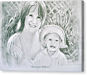 Canvas Print featuring the painting Melissa And Autumn by Patricia Schneider Mitchell