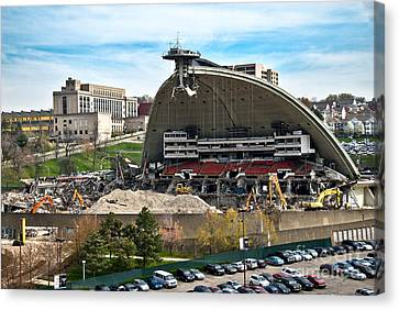 Mellon Arena Partially Deconstructed Canvas Print by Amy Cicconi