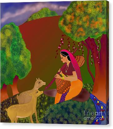 Canvas Print featuring the digital art Melodious-ragamala by Latha Gokuldas Panicker