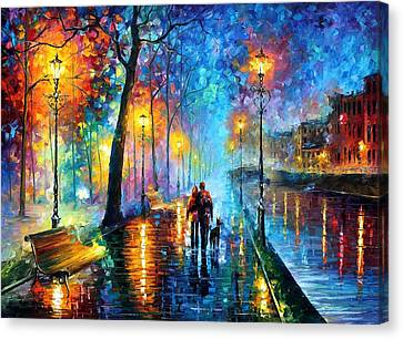 Melody Of The Night - Palette Knife Landscape Oil Painting On Canvas By Leonid Afremov Canvas Print by Leonid Afremov