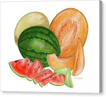 Canvas Print featuring the painting Melons  by Nan Wright