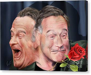 Melpomene And Thalia The Duality Of Robin Williams Canvas Print by Reggie Duffie