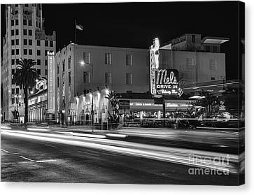 Mel's Drive-in Black And White Canvas Print by Eddie Yerkish