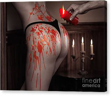 Melted Red Wax Dripping From Candle On Sexy Woman Body Canvas Print by Oleksiy Maksymenko