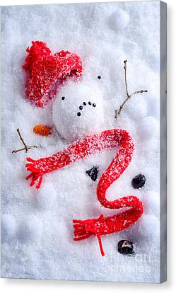 Melted Snowman Canvas Print by Amanda Elwell