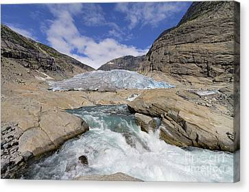 Melting Glacier With Rapids In Dramatic Setting Of Mountains On  Canvas Print by Bart De Rijk