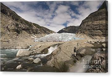 Melting Glacier With Rapids In Dramatic V-shaped Mountains Canvas Print by Bart De Rijk