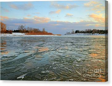 Melting Ice At Dusk Canvas Print by Charline Xia