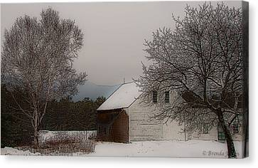 Canvas Print featuring the photograph Melvin Village Barn In Winter by Brenda Jacobs