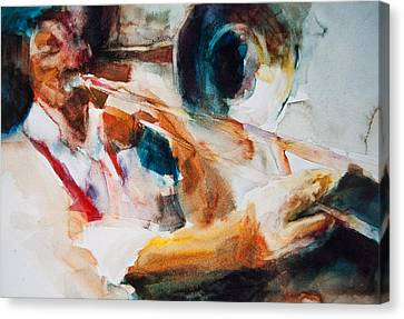 Canvas Print featuring the painting Member Of The Band by Jani Freimann