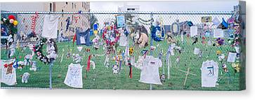 Mementos On Chain Link Fence, Memorial Canvas Print