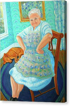 Canvas Print featuring the painting Memere by Dwain Ray