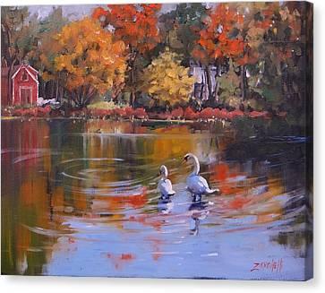 Swans... Canvas Print - Memorial Pond by Laura Lee Zanghetti