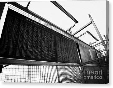 Manhatan Canvas Print - Memorial Wall With Names Of Nine Eleven Victims On The Fence At World Trade Center Ground Zero by Joe Fox