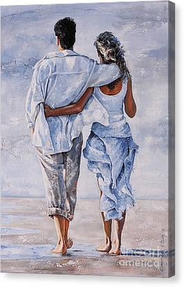Touching Canvas Print - Memories Of Love by Emerico Imre Toth