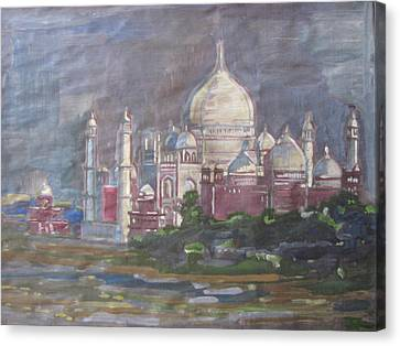 Canvas Print featuring the painting Memories Of The Taj by Vikram Singh