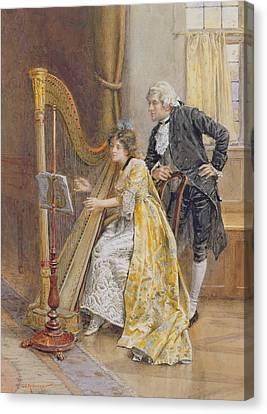 Harp Canvas Print - Memorys Melody by George Goodwin Kilburne