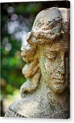 Memphis Elmwood Cemetery - Girl With Cross Close-up Canvas Print by Jon Woodhams