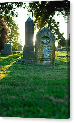 Cemetary Canvas Print - Memphis Elmwood Cemetery - Backlit Grave Stones by Jon Woodhams