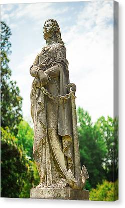 Memphis Elmwood Cemetery Monument - Woman With Chain Canvas Print by Jon Woodhams