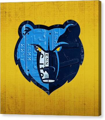 Memphis Grizzlies Basketball Team Retro Logo Vintage Recycled Tennessee License Plate Art Canvas Print by Design Turnpike