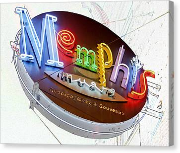 Memphis Sign Canvas Print by Liz Leyden