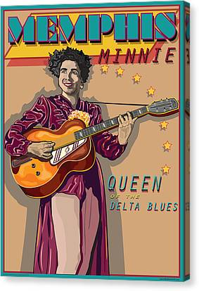 Memphis Minnie Queen Of The Delta Blues Canvas Print by Larry Butterworth