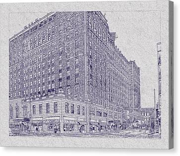 Memphis Peabody Hotel Blueprint Canvas Print