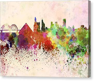 Memphis Skyline In Watercolor Background Canvas Print by Pablo Romero