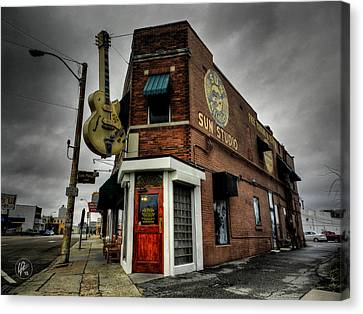 Gibson Guitar Canvas Print - Memphis - Sun Studio 004 by Lance Vaughn