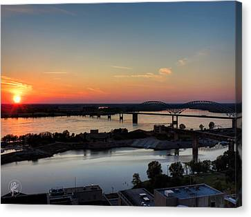 Memphis Sunset On The Mississippi 001 Canvas Print by Lance Vaughn