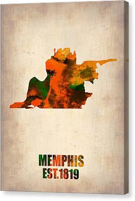 Memphis Watercolor Map Canvas Print