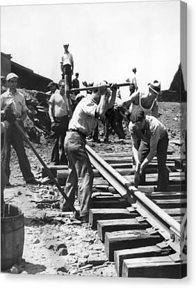 Men Laying Railroad Track Canvas Print
