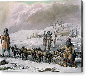 Men Of Kamchatska, With A Dog Sleigh Canvas Print by Italian School