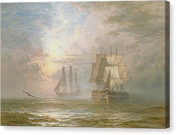 Men Of War At Anchor Canvas Print by Henry Thomas Dawson