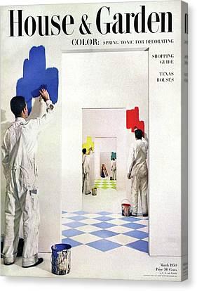 Men Painting Walls In Various Colors Canvas Print by Herbert Matter
