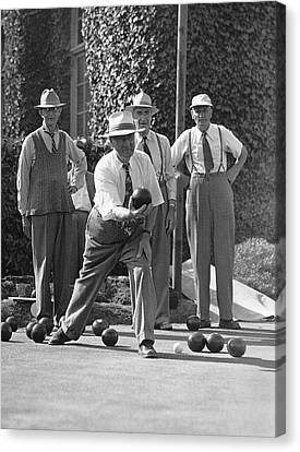 Men Playing Bocce Ball Canvas Print by Underwood Archives