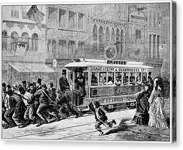 Men Pulling A Tram Canvas Print by Cci Archives