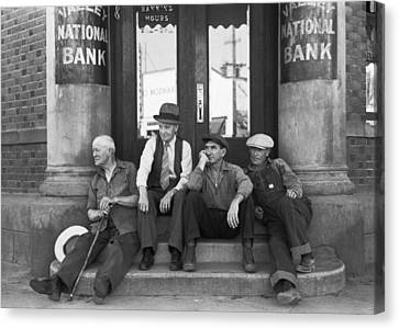 Men Sitting On Bank Steps Canvas Print by Russell Lee