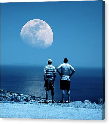 Men Watching The Moon Canvas Print