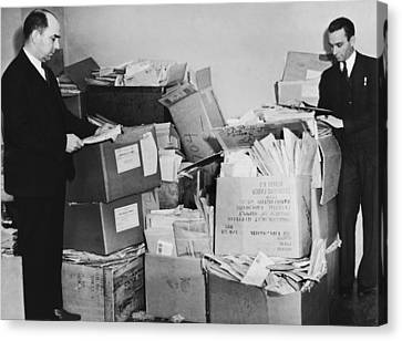 Men With Piles Of Mail Canvas Print by Underwood Archives