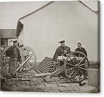 Men With Volley Gun And Rockets Canvas Print by British Library