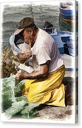 Mending The Net - Catania Sicily Canvas Print by Jon Berghoff