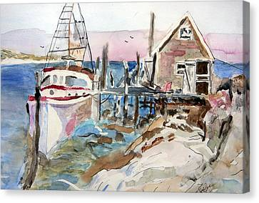 Canvas Print featuring the painting Menemsha Harbor by Michael Helfen
