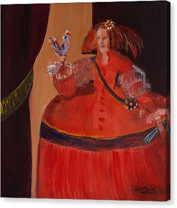 Menina In Red With Small Cockerel Oil & Acrylic On Canvas Canvas Print