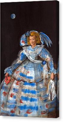 Menina With Blue Moon Oil & Acrylic On Canvas Canvas Print by Marisa Leon