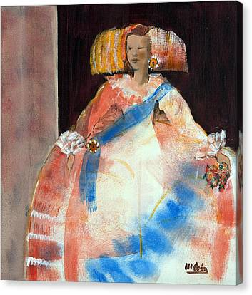 Menina With Sash And Flower Oil & Acrylic On Canvas Canvas Print by Marisa Leon