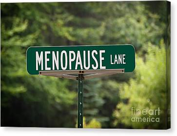 Menopause Lane Sign Canvas Print by Sue Smith